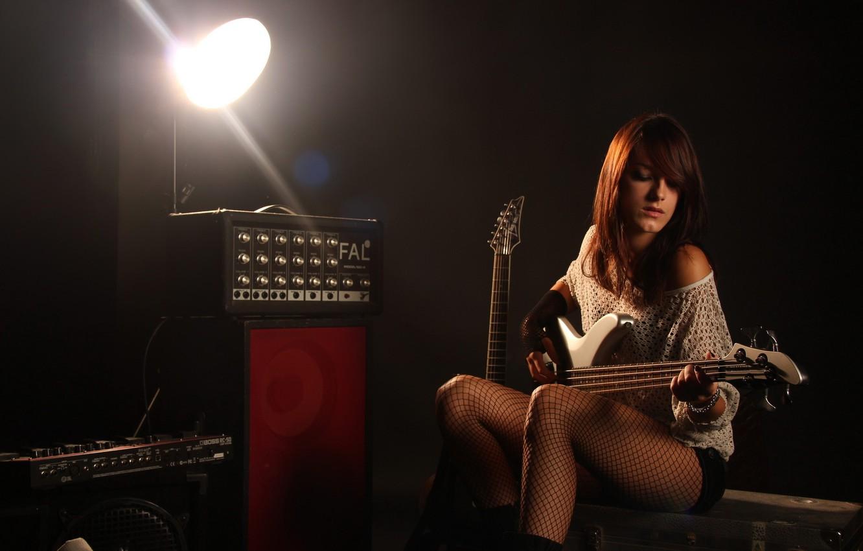 Photo wallpaper girl, music, background, guitar