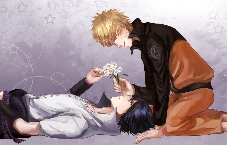 Photo wallpaper flower, smile, male, blue eyes, naruto, short hair, high resolution, lying, blonde hair, uchiha sasuke, …