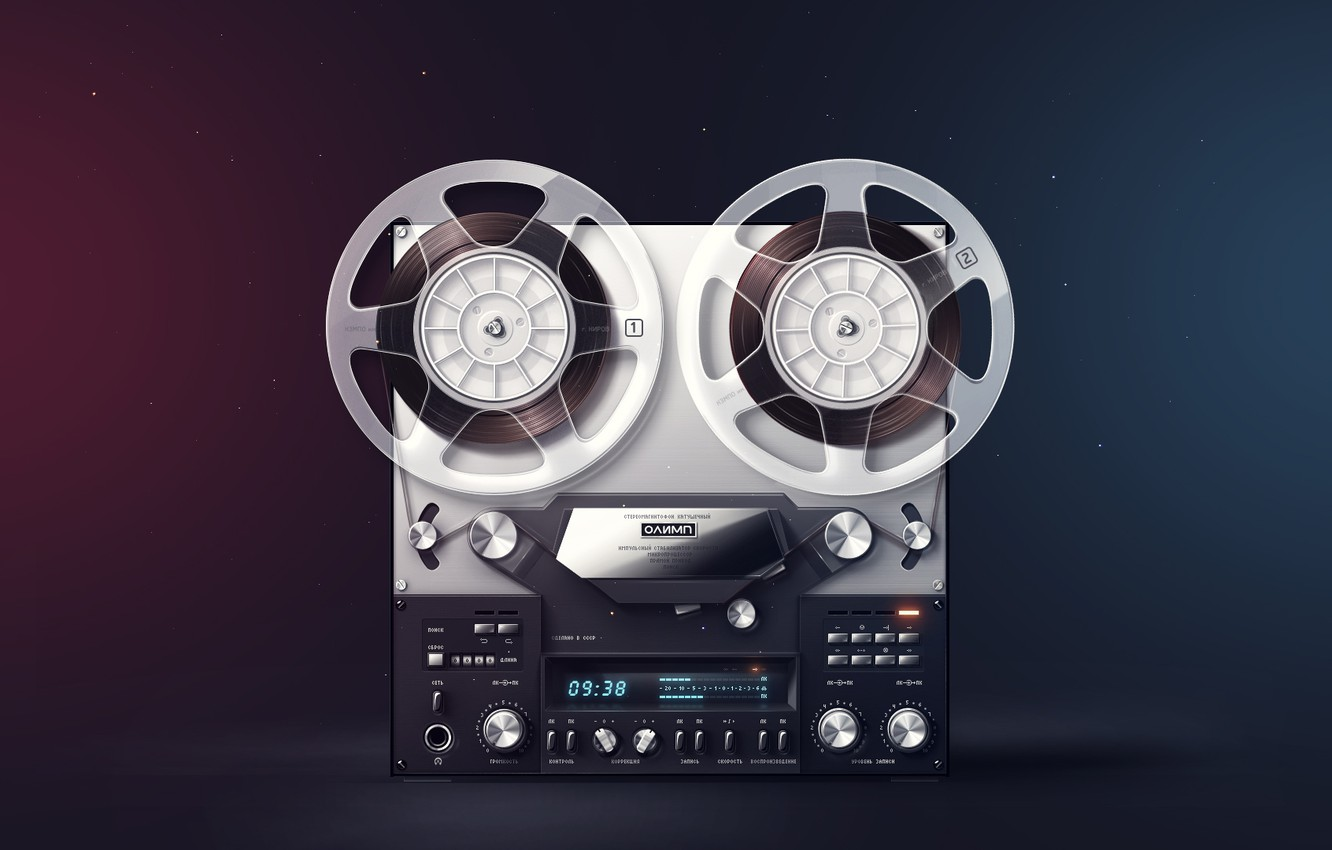 Photo wallpaper retro, rendering, button, film, tape, stereo, Olympus, coil