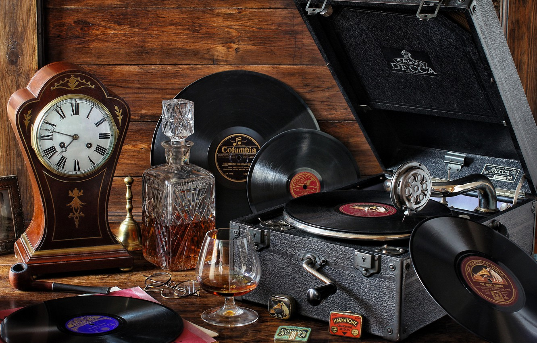 Photo wallpaper style, retro, watch, glass, cognac, records, vintage, decanter, gramophone