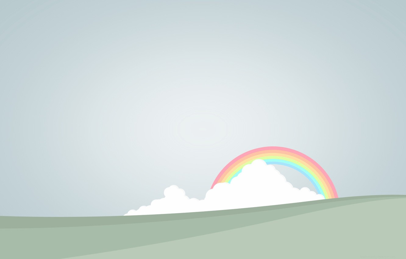 Photo wallpaper clouds, rainbow, vector