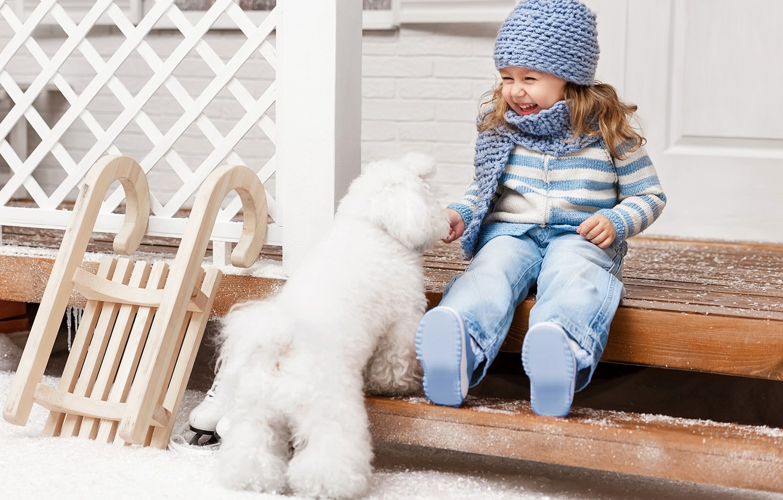 Photo wallpaper winter, snow, joy, hat, child, dog, ladder, girl, sled, Winter, beautiful, snow, Dogs, Little girls