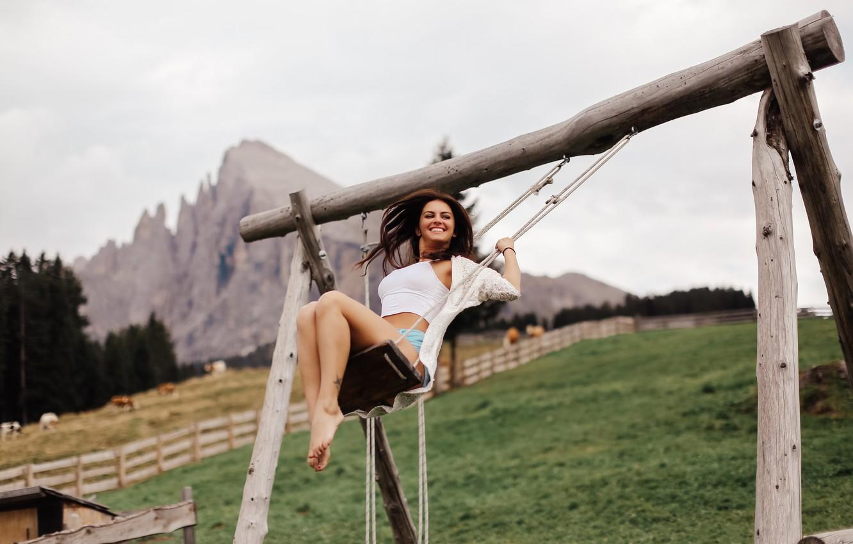 Photo wallpaper girl, joy, swing, laughter