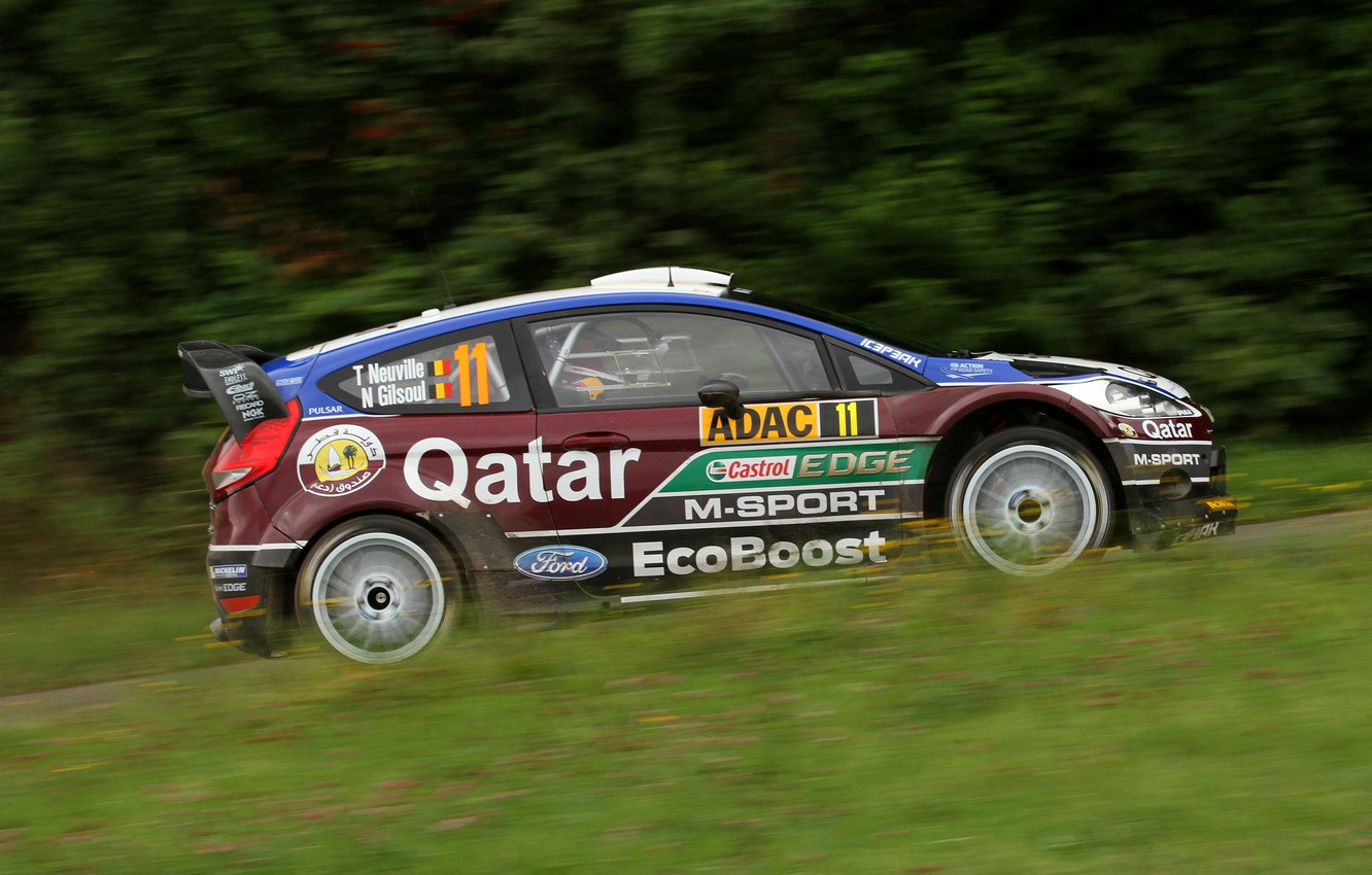Photo wallpaper Ford, Grass, Forest, Focus, WRC, Rally, Neuville