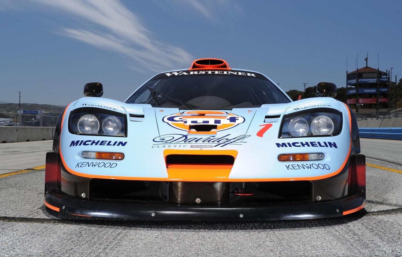 Photo wallpaper the sky, background, McLaren, GTR, supercar, the car, the front, racing, McLaren, Longtail, 1997