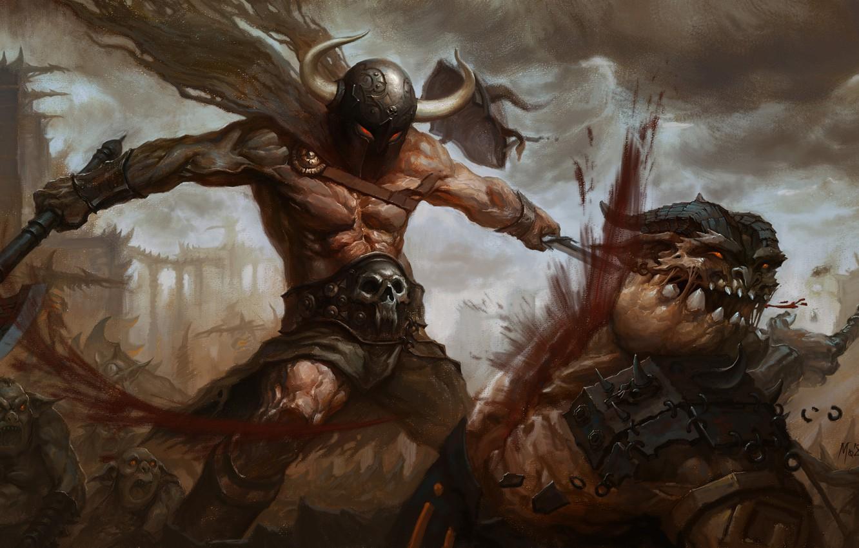 Wallpaper Weapons Blood Warrior Art Monsters Horns Helmet Battle Images For Desktop Section Fantastika Download