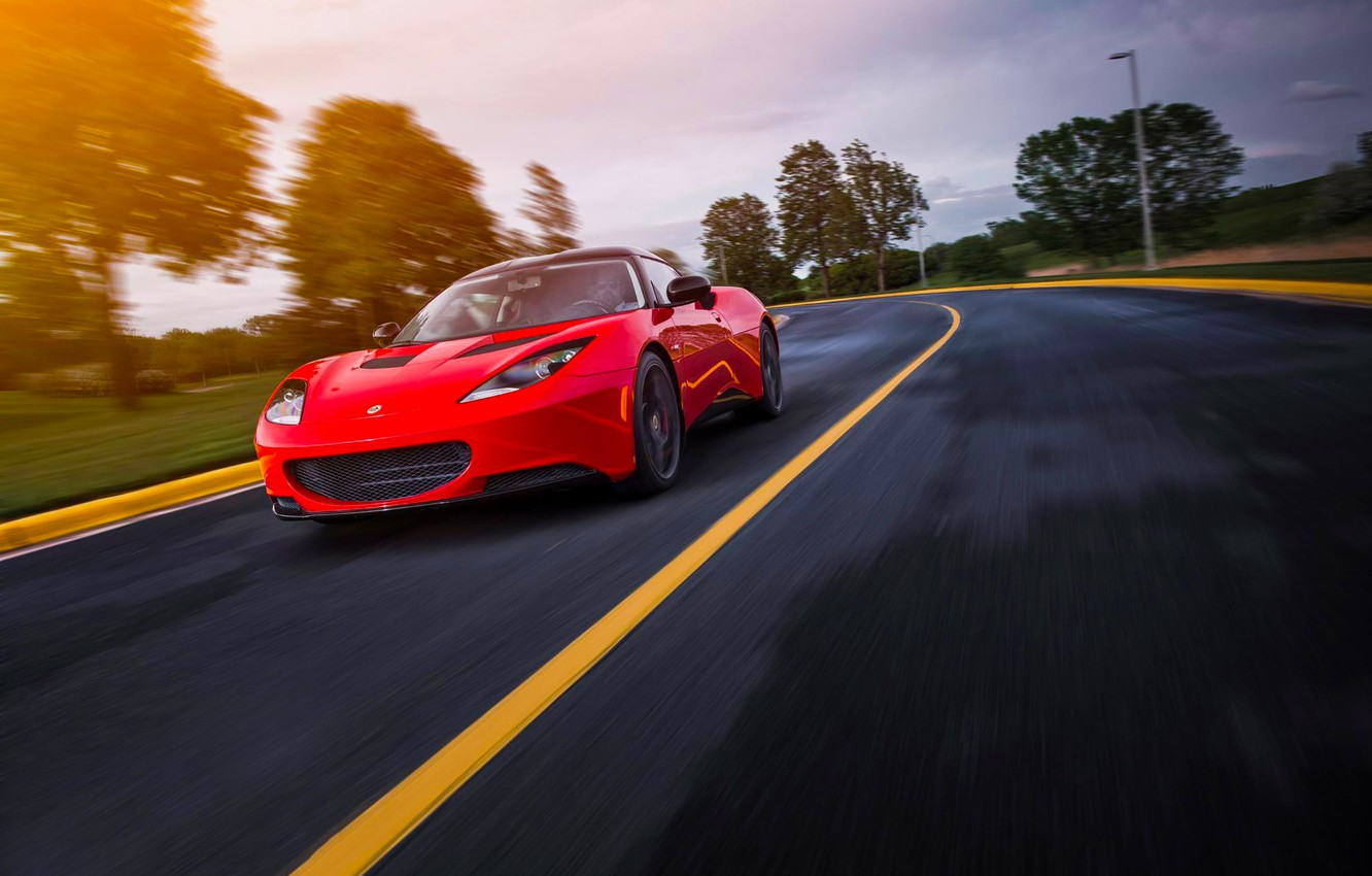 Photo wallpaper Lotus, Red, Car, Speed, Front, Sun, Sport, Road, Evora S