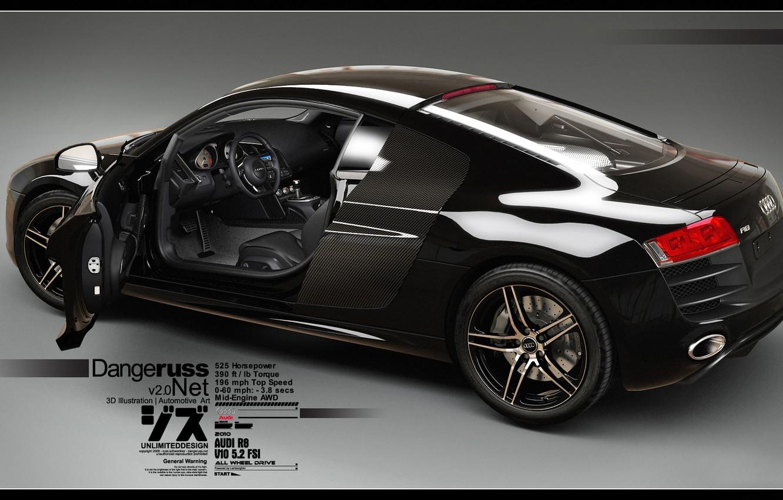 Wallpaper Audi R8, V10, 3D Car, Black