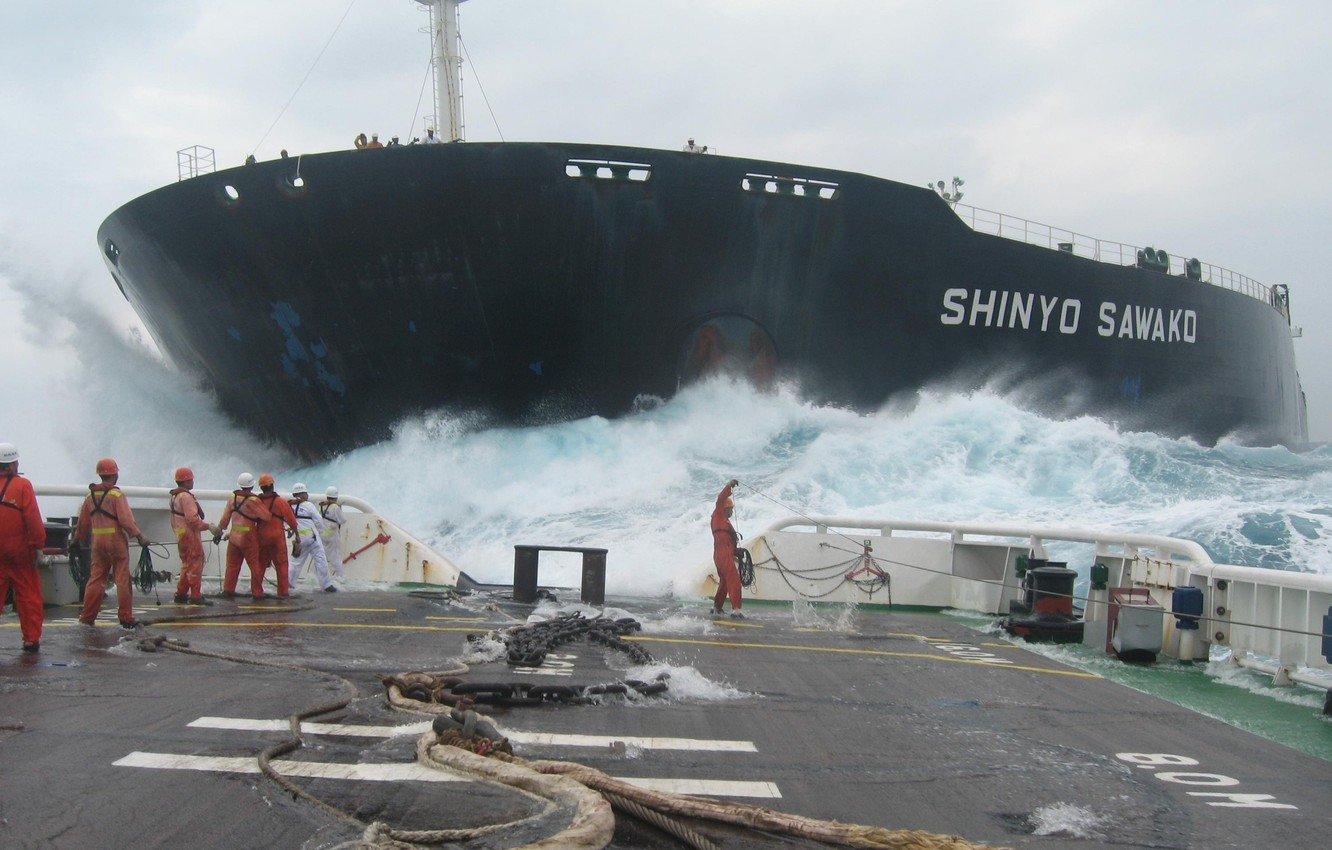 Photo wallpaper sea, wave, storm, the ocean, ship, team, tanker, deck, chain, cables