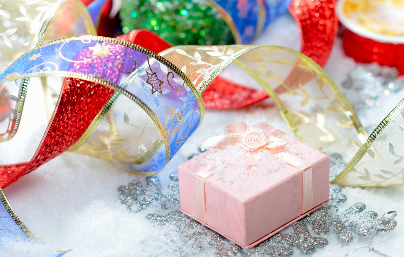 Photo wallpaper tape, pink, holiday, gift, Shine, new year, sequins, tape, gifts, bow, happy new year