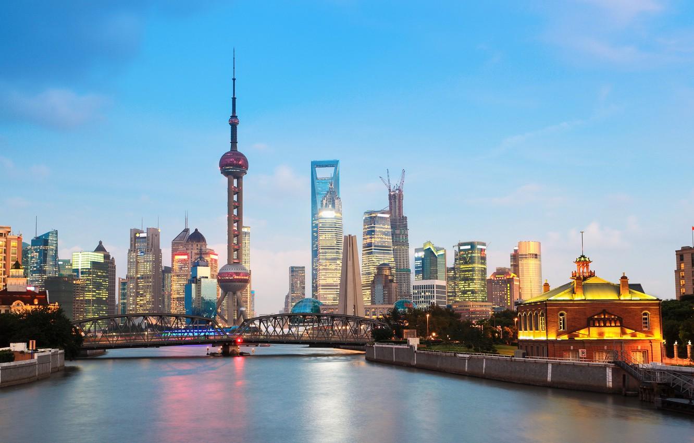 Photo wallpaper bridge, the city, the evening, Shanghai