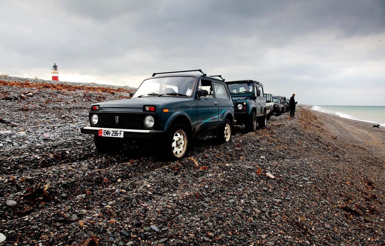 Photo wallpaper background, Wallpaper, shore, Lada, off road, Niva, Niva, Land rover