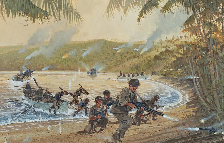 Photo wallpaper fire, war, smoke, figure, soldiers, boats, Laguna, shots, machine gun, rifle, landing, machines, boat, WW2, …