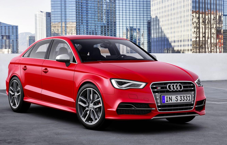 Photo wallpaper Audi, Auto, Audi, The city, Logo, Case, Building, Lights, Sedan, The front