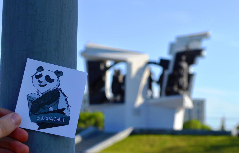 Photo wallpaper lawn, Panda, monument, buddha chieff