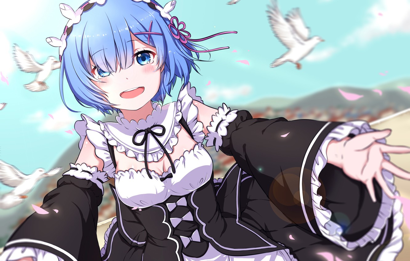 Wallpaper Girl Joy Tears Anime The Maid Art Rem Re Zero Kara
