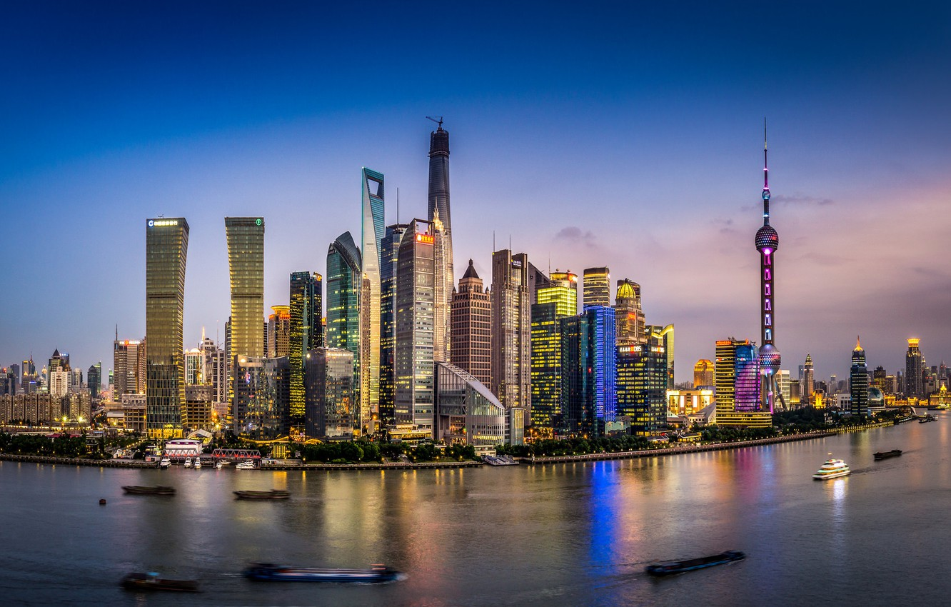 Photo wallpaper the sky, clouds, boats, China, Shanghai, twilight, Oriental