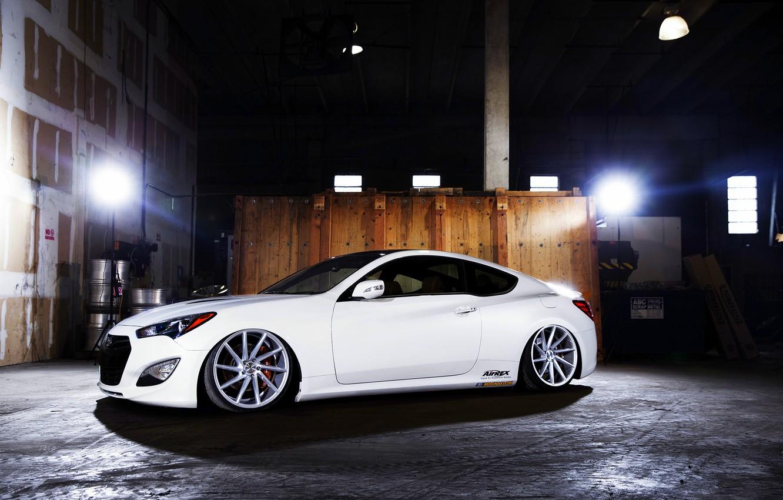 Photo wallpaper white, wheels, side, Hyundai, vossen, Genesis, 3.8