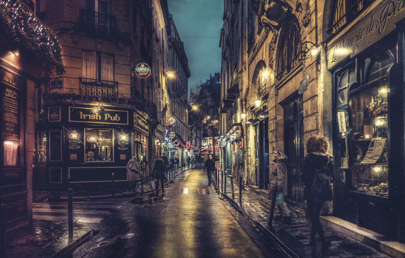 Wallpaper Paris Night France Street People Lamps Cityscape Walking Shops Sidewalk Everyday Life Urban Scene Images For Desktop Section Gorod Download