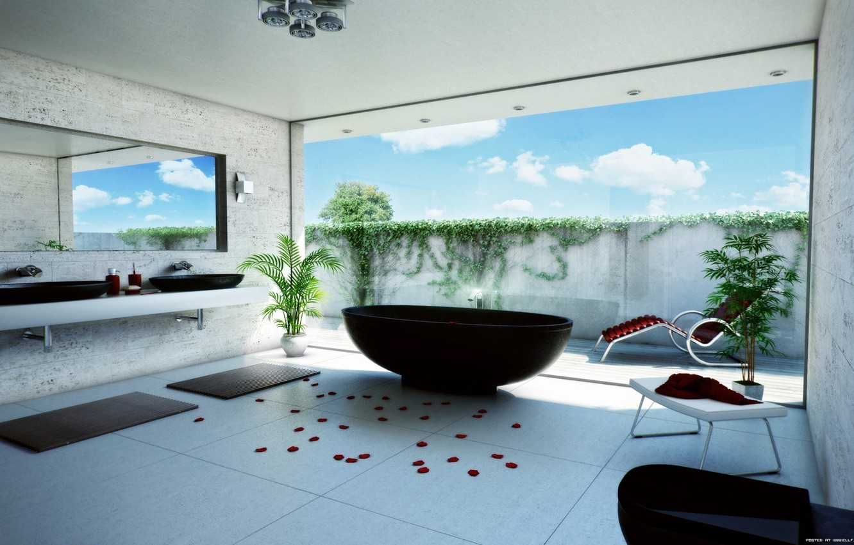 Photo wallpaper flowers, petals, mirror, chaise, bath