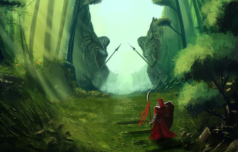 Photo wallpaper road, grass, weapons, fiction, warrior, art, pass, green