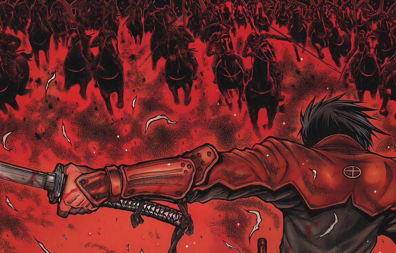 Photo wallpaper wallpaper, battlefield, red, sword, blood, game, armor, war, anime, katana, man, ken, horse, samurai, hero, …