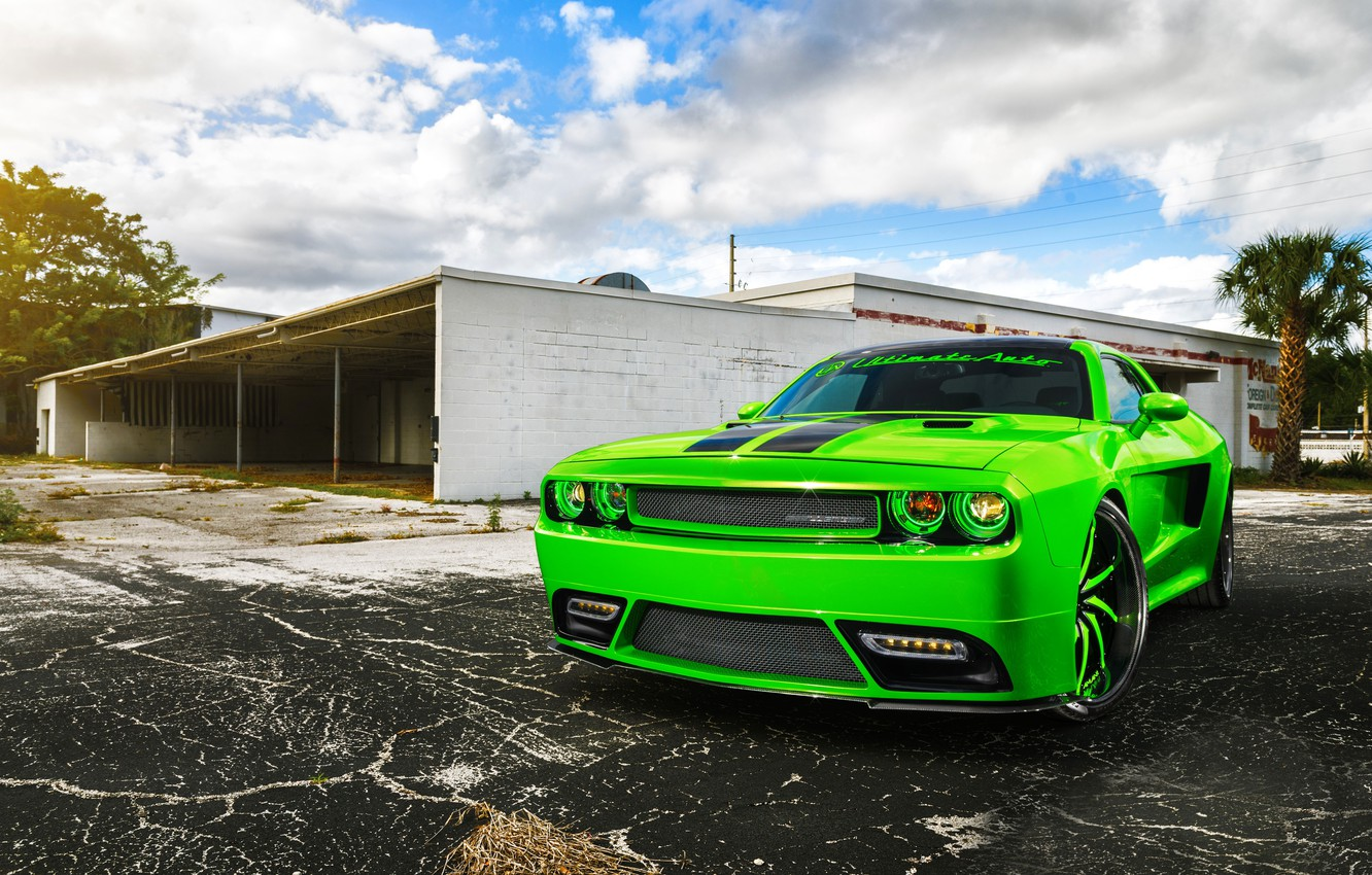 Photo wallpaper Dodge, SRT8, Challenger, Green, Front, Tuning, Rider, Chall