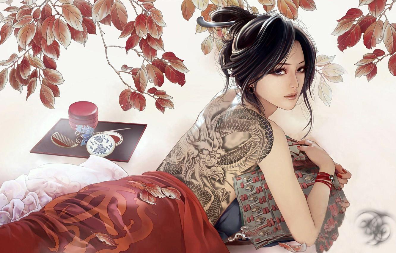 Photo wallpaper dragon, figure, brunette, tattoo, JX Online