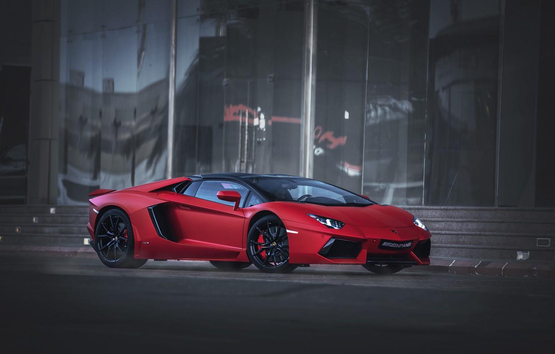 Photo wallpaper red, Roadster, Lamborghini, Aventador