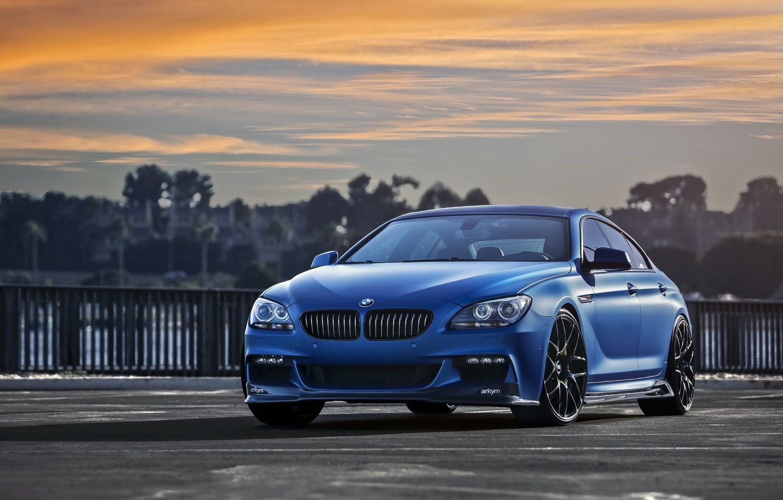 Photo wallpaper car, Gran Coupe, F06, Matte Blue, BMW 640i