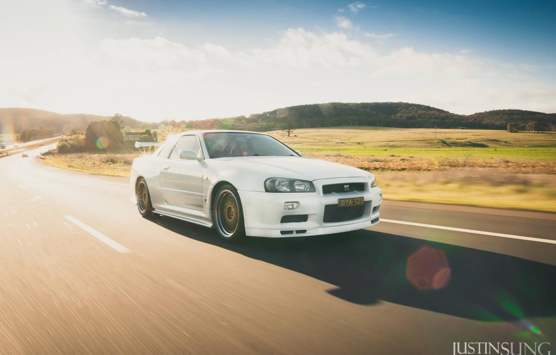 Photo wallpaper road, white, movement, nissan, white, skyline, Nissan, gt-r, gtr, riding, r34, bbs, skyline, justin sung