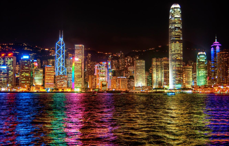 Photo wallpaper the city, lights, reflection, the evening, Hong Kong