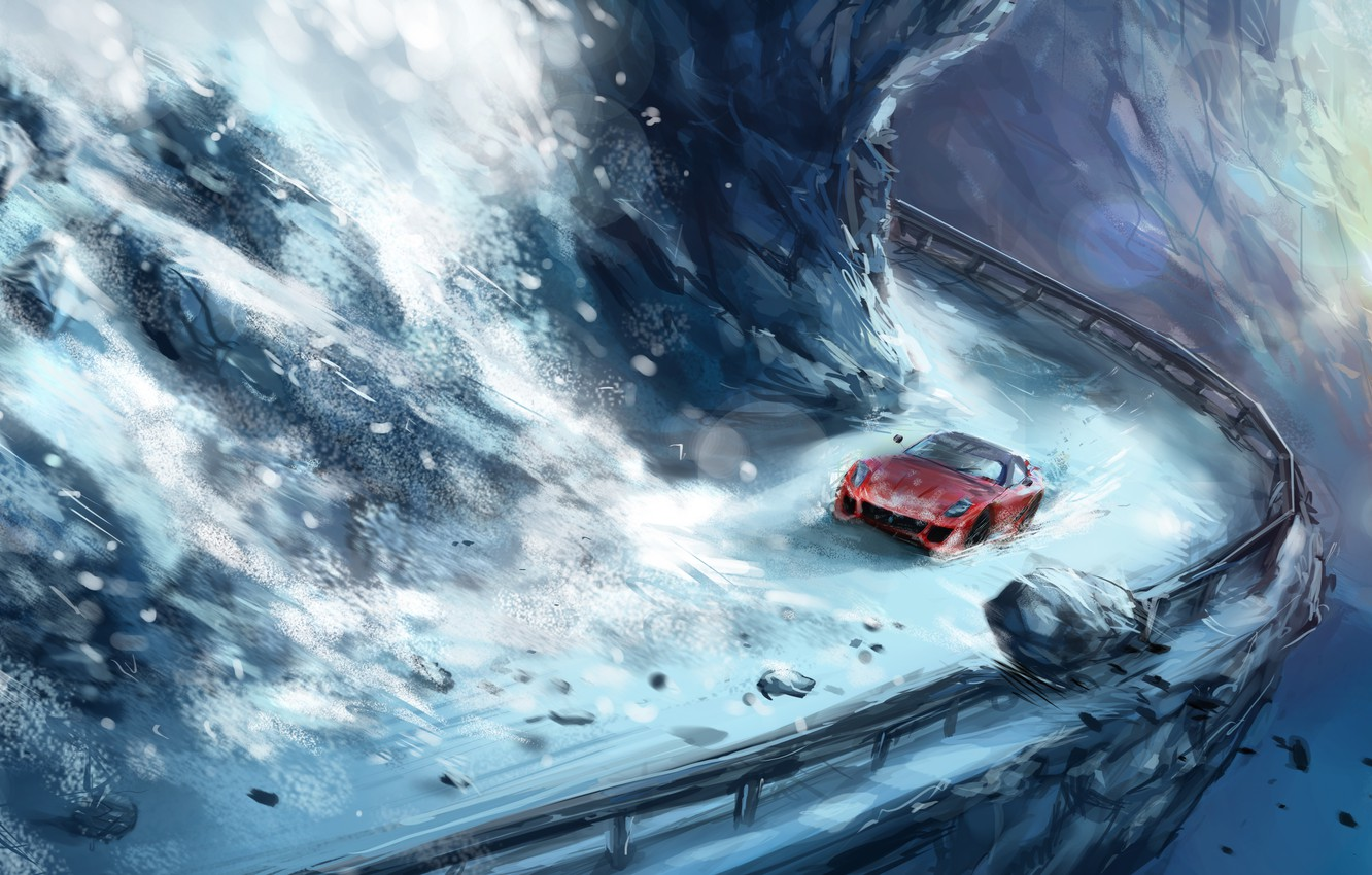 Photo wallpaper road, snow, mountains, stones, height, Avalanche, destruction, red car