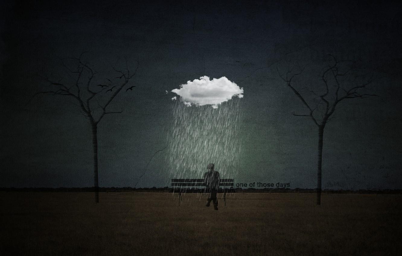 Photo wallpaper grey, rain, sadness