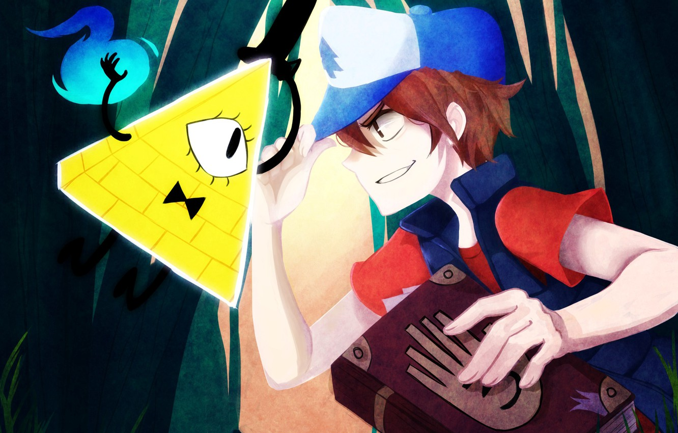 Photo wallpaper magic, the opposition, being, boy, art, book, triangle, diary, Gravity Falls, Dipper Pines, Bill Cipher, …