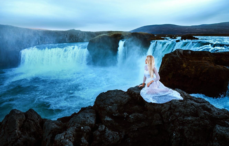 Photo wallpaper girl, nature, waterfall, dress, sitting