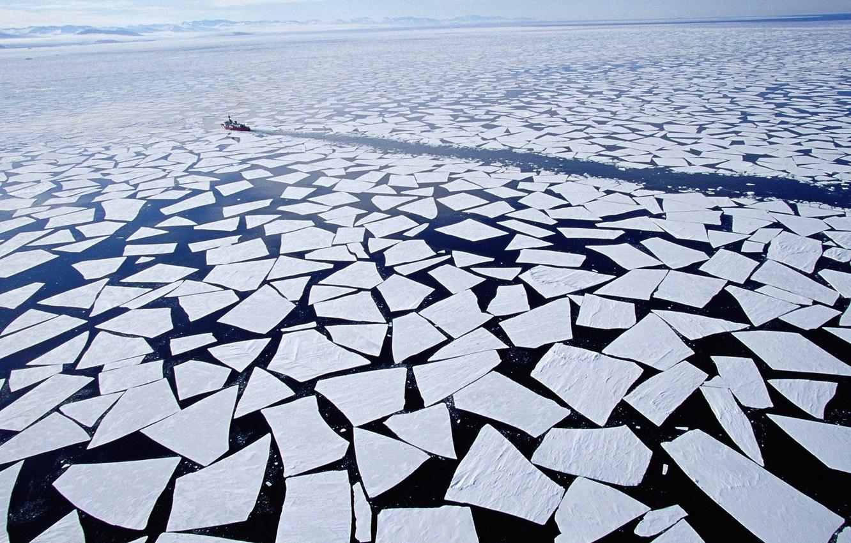 Photo wallpaper Horizon, Antarctica, Ice, Icebreaker