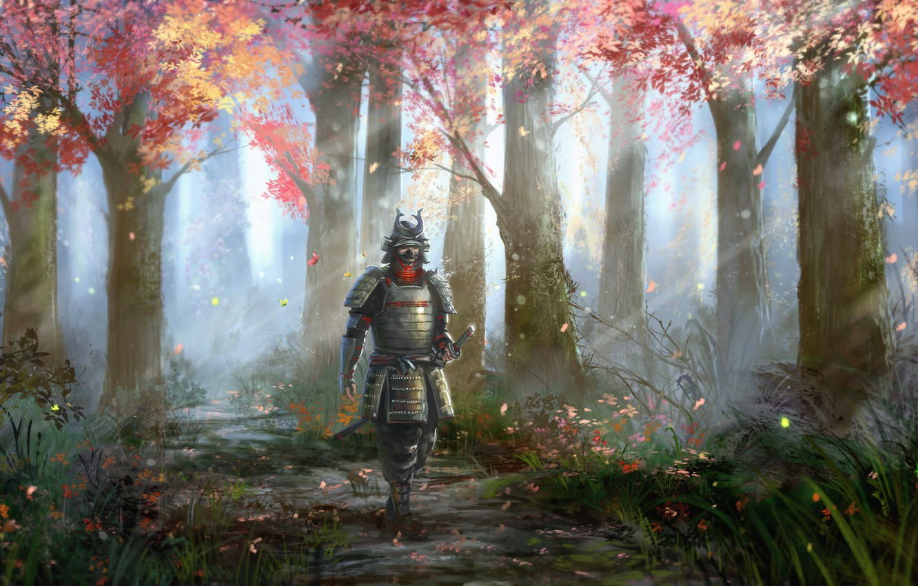 Photo wallpaper autumn, grass, leaves, rays, trees, nature, people, armor, art