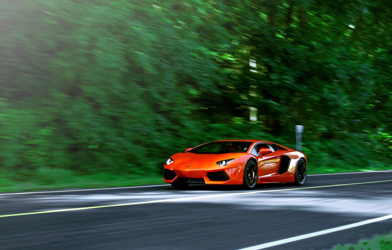 Photo wallpaper road, trees, orange, speed, blur, lamborghini, orange, aventador, lp700-4, Lamborghini, aventador