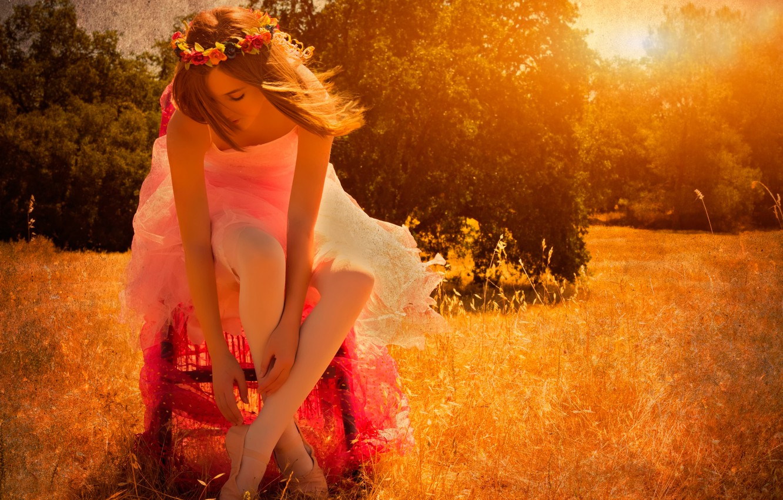 Photo wallpaper field, summer, the sun, ballerina, Pointe shoes