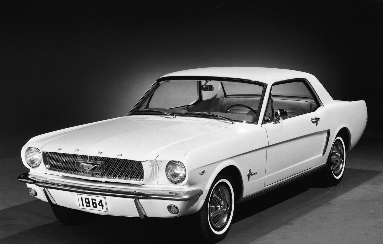 Photo wallpaper machine, white, Ford Mustang, Ford, 1964