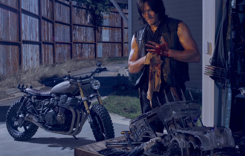 Photo wallpaper bike, The Walking Dead, The walking dead, Norman Reedus, Daryl