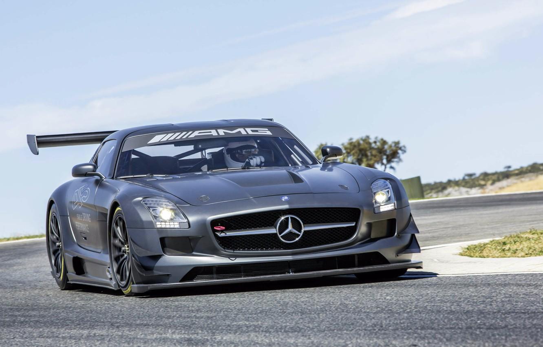 Photo wallpaper road, movement, tuning, spoiler, Mercedes, AMG, SLS, Mercedes-Benz SLS