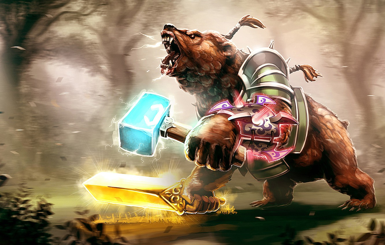 Photo wallpaper bear, art, valve, warrior, dota 2, Lone druid