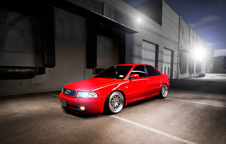 Photo wallpaper Audi, Audi, red, sedan, red, stance