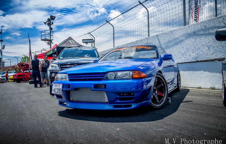 Photo wallpaper nissan, turbo, wheels, skyline, japan, blue, jdm, tuning, gtr, front, face, racing, r32, nismo, datsun