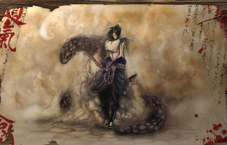 Photo wallpaper blood, snake, sword, characters, Sasuke, Sasuke, Naruto, Naruto, shippuuden, Orochimaru, parchment, Shippuuden