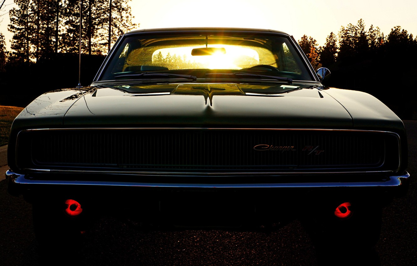 Photo wallpaper the sky, the sun, Dodge, Dodge, twilight, Charger, the front, 1968, Muscle car, Muscle car, …