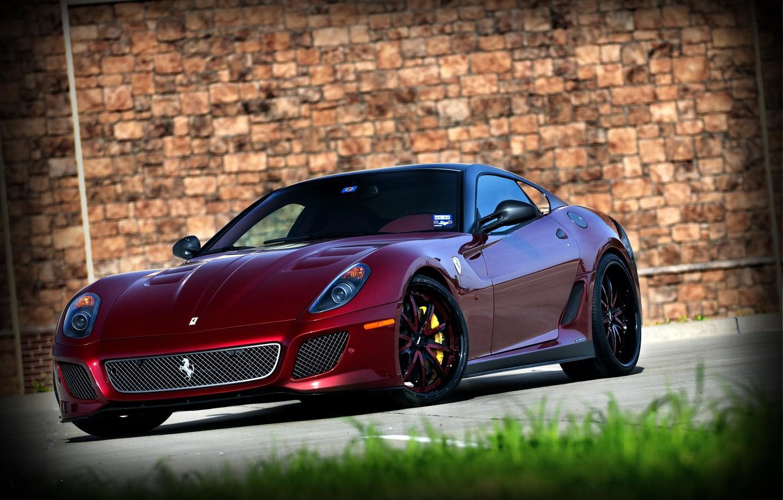 Photo wallpaper grass, wall, red, wall, ferrari, Ferrari, front view, 599 GTO, dark red, 599 GTO