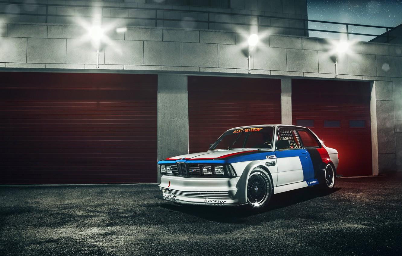 Photo wallpaper night, glare, lamp, BMW, GTR, white, front, race car, 3 Series, kit, E21, GFL
